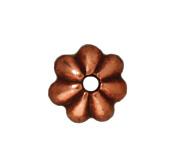 Image lead free pewter 5mm petal bead cap antique copper