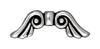 Metal Beads 7 x 21mm angel wings antique silver lead free pewter