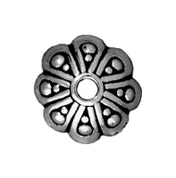 lead free pewter 8mm oasis bead cap antique silver