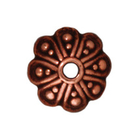 lead free pewter 8mm oasis bead cap antique copper