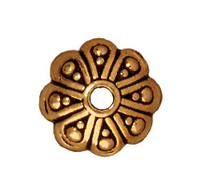 lead free pewter 8mm oasis bead cap antique gold