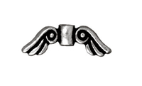 Metal Beads 14 x  5mm angel wings antique silver lead free pewter