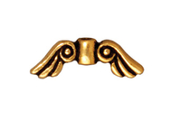 Metal Beads 14 x  5mm angel wings antique gold lead free pewter