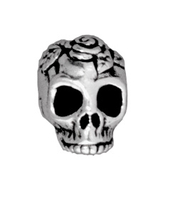 Metal Beads 10mm skull with rose antique silver lead free pewter