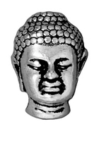 Metal Beads 14 x 9.75mm Buddha head antique silver lead free pewter