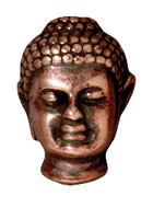 Metal Beads 14 x 9.75mm Buddha head antique copper lead free pewter