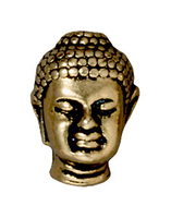 Metal Beads 14 x 9.75mm Buddha head antique gold lead free pewter