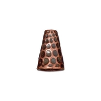 lead free pewter 13 x 9mm hammered cone antique copper