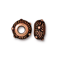 Metal Beads spiral rondell antique copper finish lead free pewter