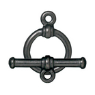 lead free pewter 12mm bar & ring toggle clasp gunmetal