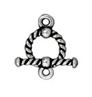 lead free pewter 10mm twisted toggle clasp antique silver