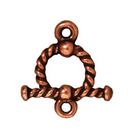 lead free pewter 10mm twisted toggle clasp antique copper