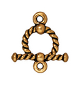 lead free pewter 10mm twisted toggle clasp antique gold