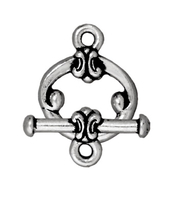 Image lead free pewter 12mm classic toggle clasp antique silver