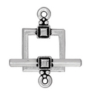 lead free pewter 12mm deco square toggle clasp antique silver