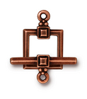 lead free pewter 12mm deco square toggle clasp antique copper
