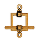 lead free pewter 12mm deco square toggle clasp antique gold