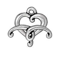 lead free pewter 14mm jubilee heart toggle clasp antique silver