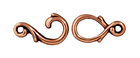 lead free pewter 6 x 22mm vine hook & eye clasp antique copper