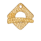 Image lead free pewter 18mm hammered square toggle clasp gold finish