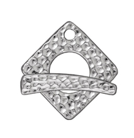 Image lead free pewter 18mm hammered square toggle clasp silver finish