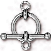 lead free pewter 3/4 inch toggle clasp antique silver
