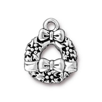 Image lead free pewter 17 x 21mm wreath & bow toggle clasp antique silver