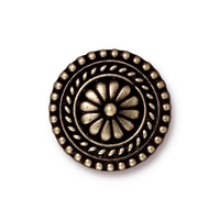 lead free pewter 17.75mm Large Bali button antique brass