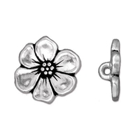 lead free pewter 15.75mm Apple Blossom button antique silver