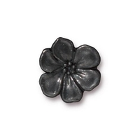 lead free pewter 15.75mm Apple Blossom button black