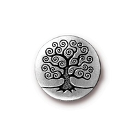 lead free pewter 15.82mm Tree of Life button antique silver