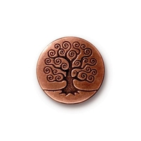 lead free pewter 15.82mm Tree of Life button antique copper
