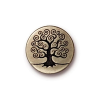 lead free pewter 15.82mm Tree of Life button antique brass
