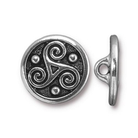 lead free pewter 16mm Triskele button antique silver
