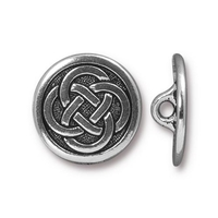 lead free pewter 16mm Celtic button antique silver
