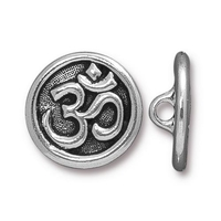 lead free pewter 17mm Om button antique silver