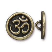 lead free pewter 17mm Om button antique brass