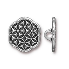 lead free pewter 16mm Flower of Life button antique silver