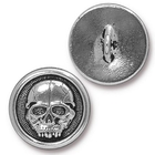 lead free pewter 17mm Scary Skull button antique silver