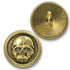 lead free pewter 17mm Scary Skull button antique gold