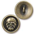 lead free pewter 17mm Scary Skull button antique brass