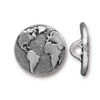 lead free pewter 17mm Earth button antique silver