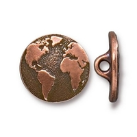lead free pewter 17mm Earth button antique copper