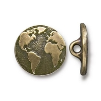 lead free pewter 17mm Earth button antique brass