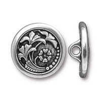 lead free pewter 17mm Czech flower button antique silver