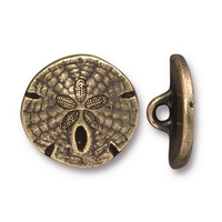 lead free pewter 17mm sand dollar button antique brass