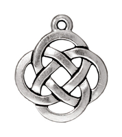 Metal Charms open round knot antique silver 18mm