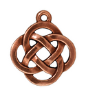 Metal Charms open round knot antique copper 18mm