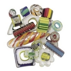 Furnace Glass Beads bright color mix with stripes mixed shapes assorted sizes