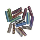 Furnace Glass Beads assorted colors tubes 25-28mm